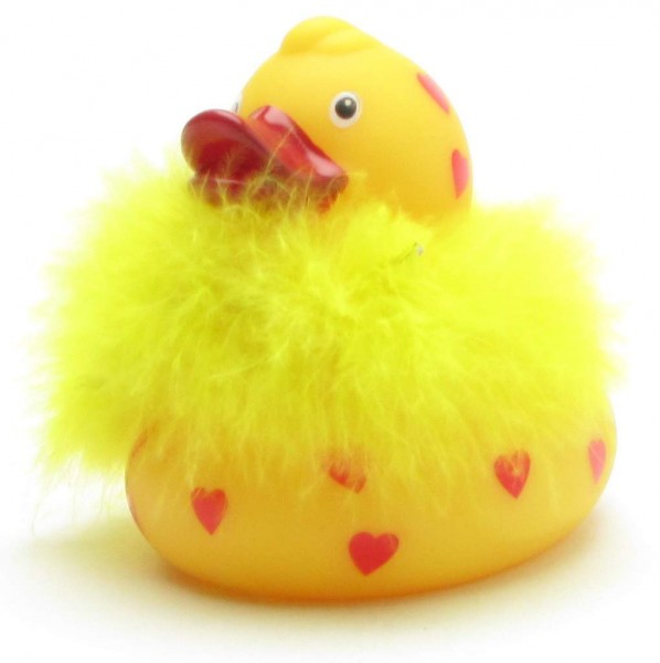 Rubber Duck with hearts and feathers - LED flashing lights