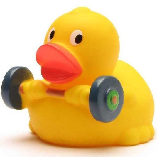 Quietscheente Gewichtheber
