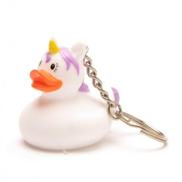 key ring Einhorn Rubber Duck - white