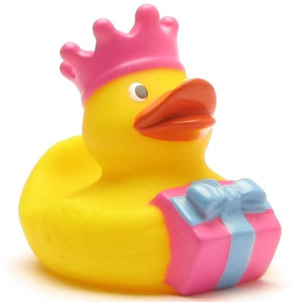 Geburtstags-Badeente König mit pinker Krone