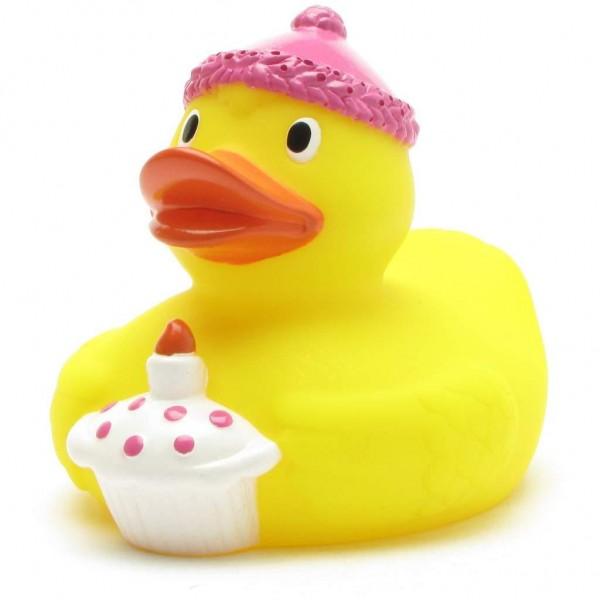 Geburtstags-Badeente mit pinker Kappe