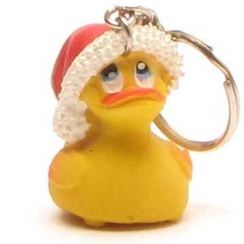 Rubber Ducky Santa Claus Keychain