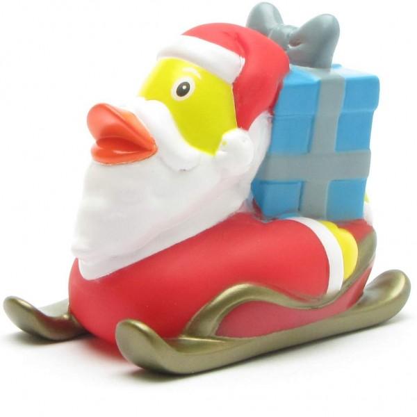 Weihnachtsmann Badeente auf Schlitten