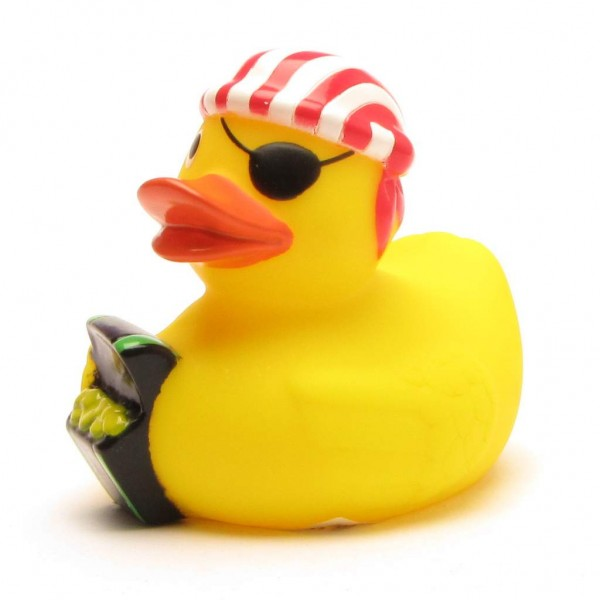 Rubber Duckie Pirate with treasure chest