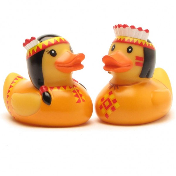 Badeente Indianer Paar- orange - 2er Set