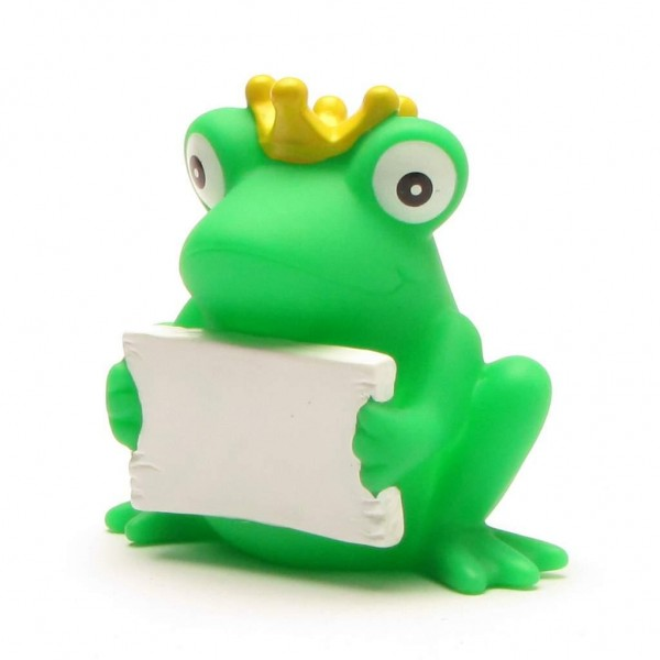 Froschkönig mit Grußschild