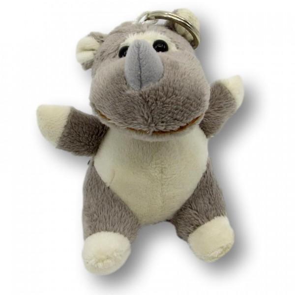 Porte-clés rhinocéros en peluche