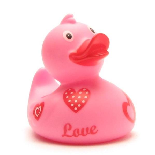 Pinke Badeente mit Herzen