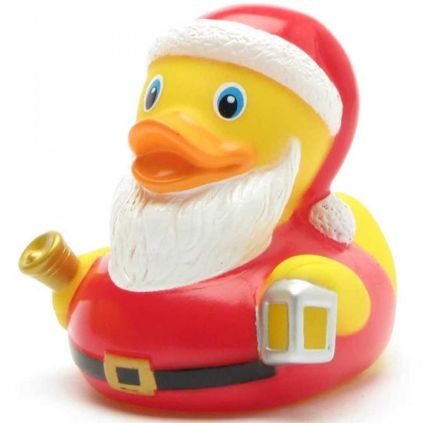 Badeente Weihnachtsmann mit Glocke und Laterne