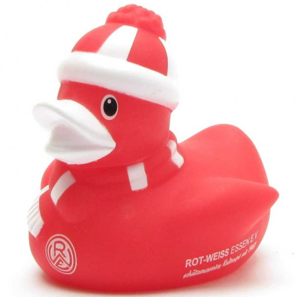 Red and white food Rubber Duck Winter