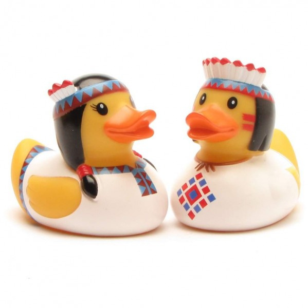 Rubber Duck Indian Pair- white - Set of 2